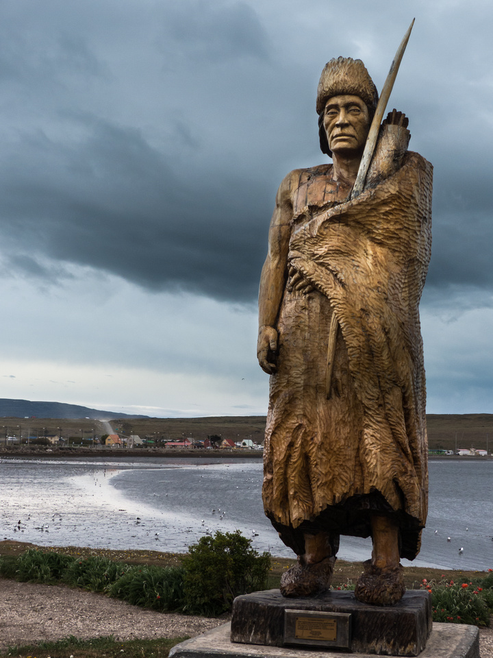 Statue of a Selk'nam man, Porvenir, Chile