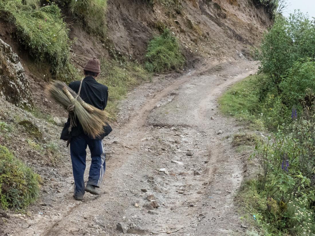 Sherpa man and brooms