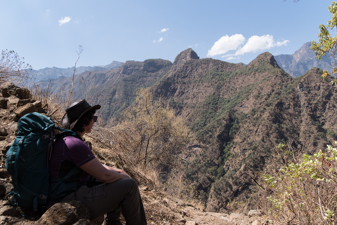 The steep trail from Sona Village to Mekarebya