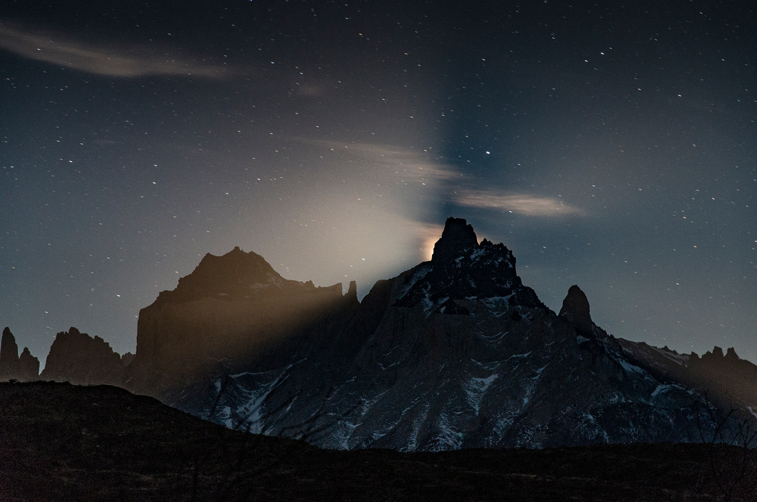 Moon over the Cuernos del Paine