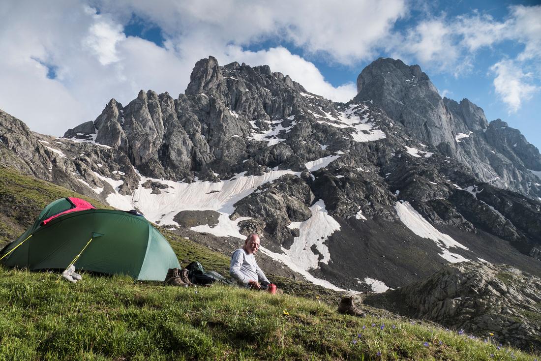 Wild  camp beneath the Chaukhi Massif