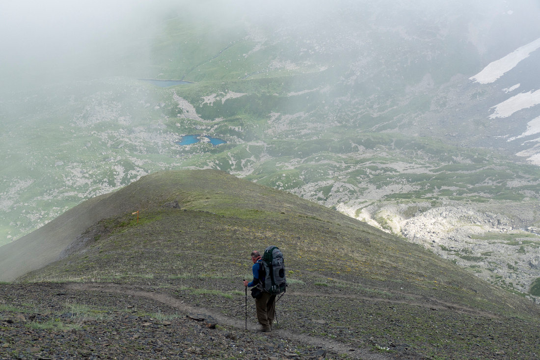 Descent towards the Blue Lake from the Chaukhi Pass