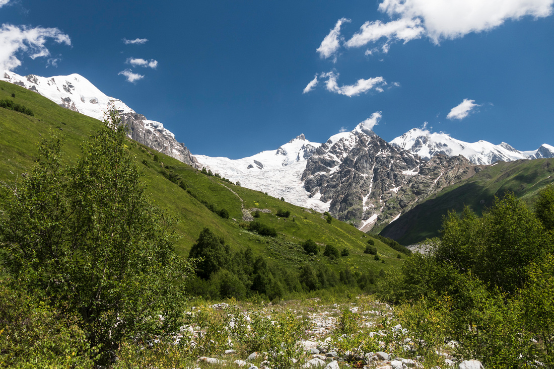 View towards the Adishi Glacier