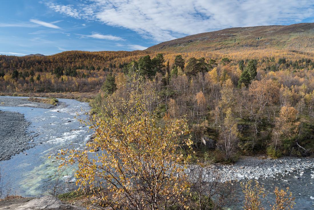 Confluence of the  junction of the Abiskojåkka and Kårsajåkka Rivers