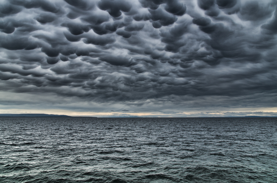 Mammatus clouds, Strait of Magellan, Chile