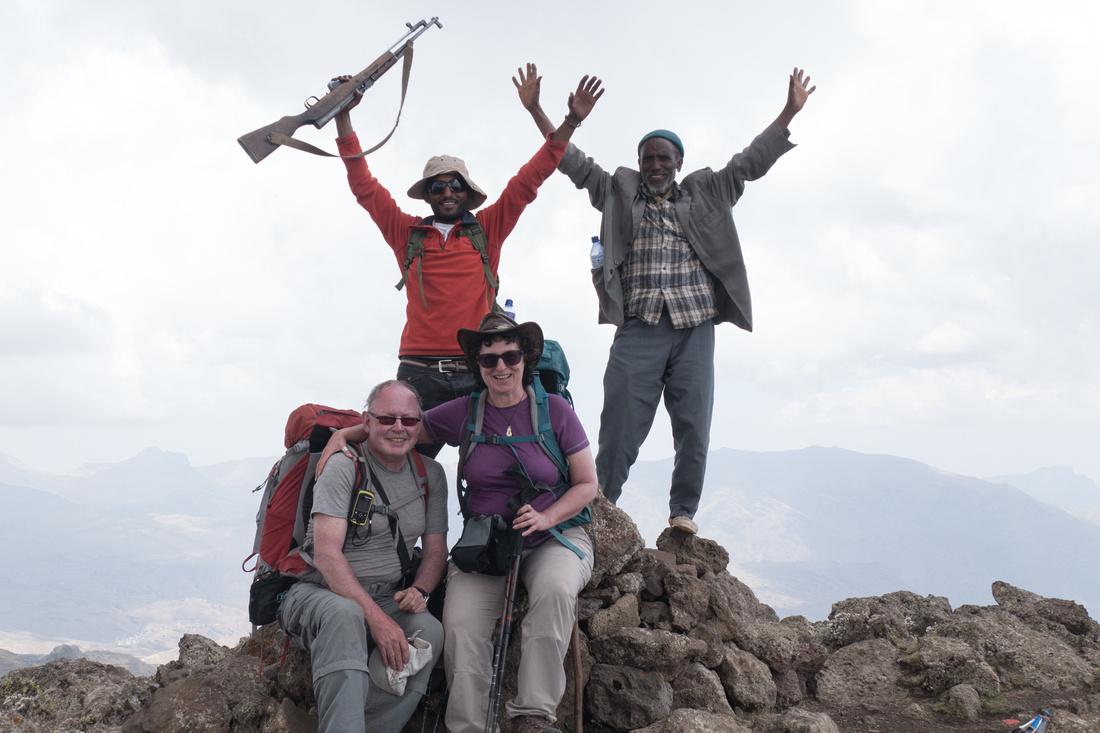 Atop the summit of Ras Bhwait (4,437 metres), Simien Mountains, Ethiopia