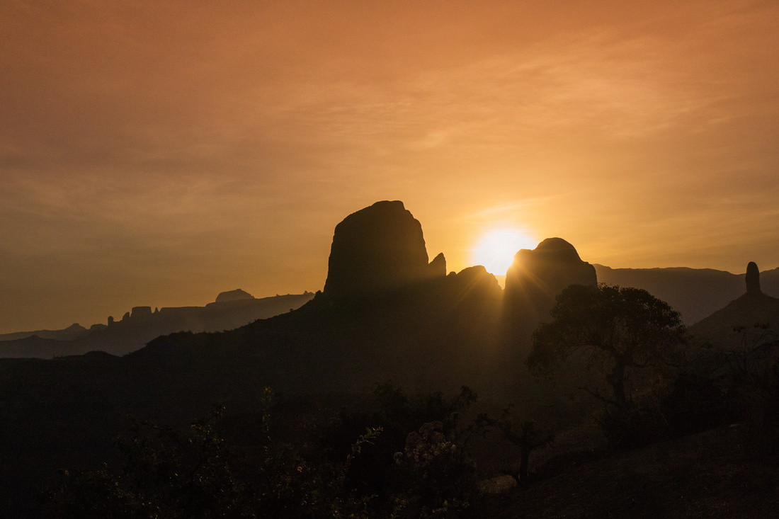 Dawn over the Simien Mountains at Mulit Village