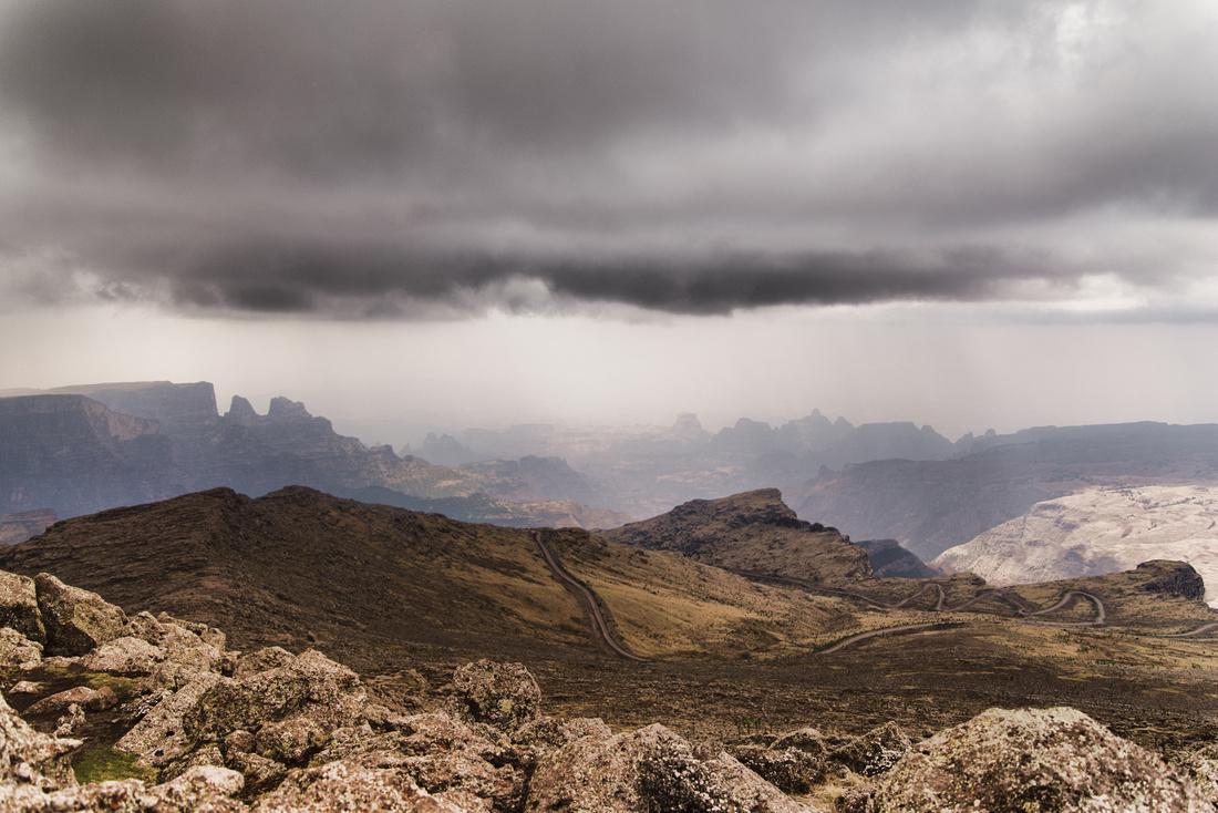 Rainstorm over the Simien Mountains National Park, Ethiopia