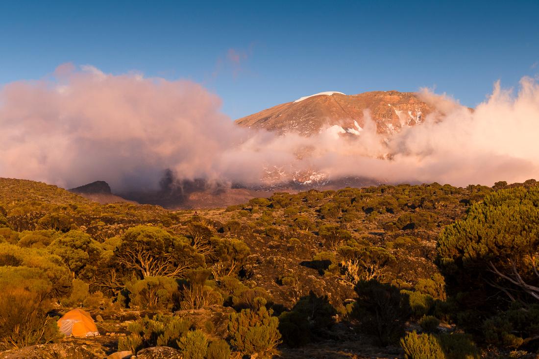 Mount Kibo in the setting sun