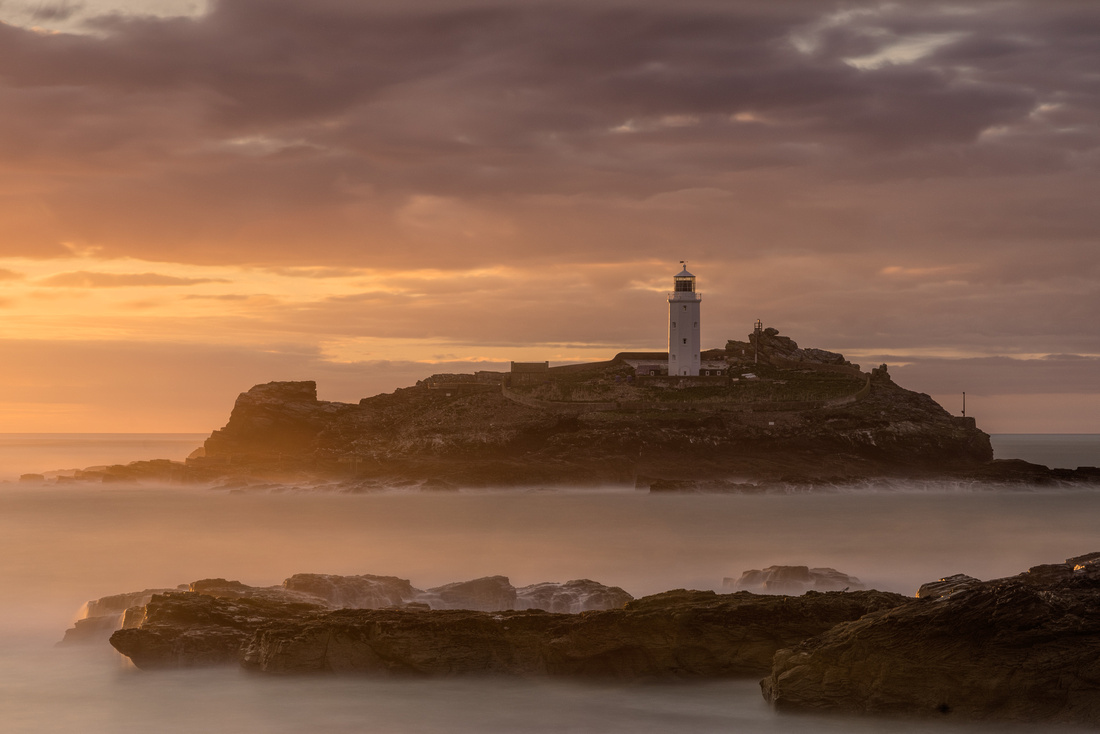 Godrevy Lighthouse in the golden hour