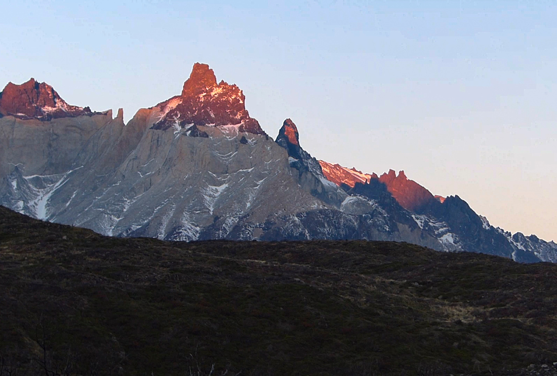 Sunset over the Cuernos del Paine