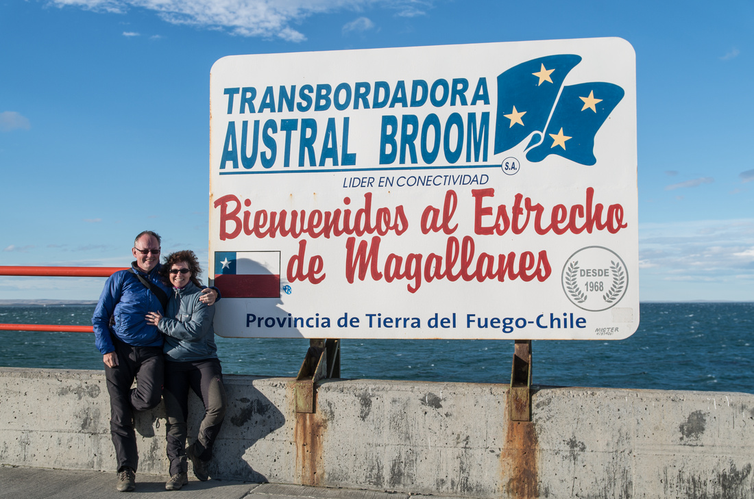 Signpost at the ferry port of Bahia Azul, Tierra del Fuego, Chile