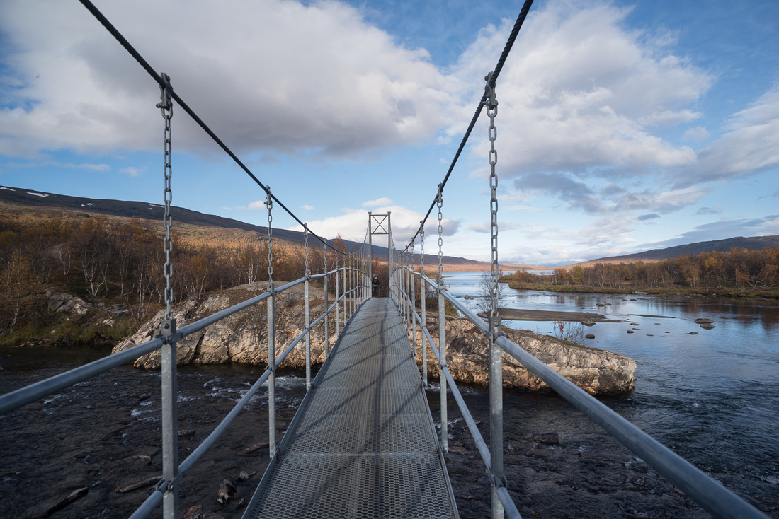 Suspension bridge over the Kamajåkka River, Kungsleden, Sweden
