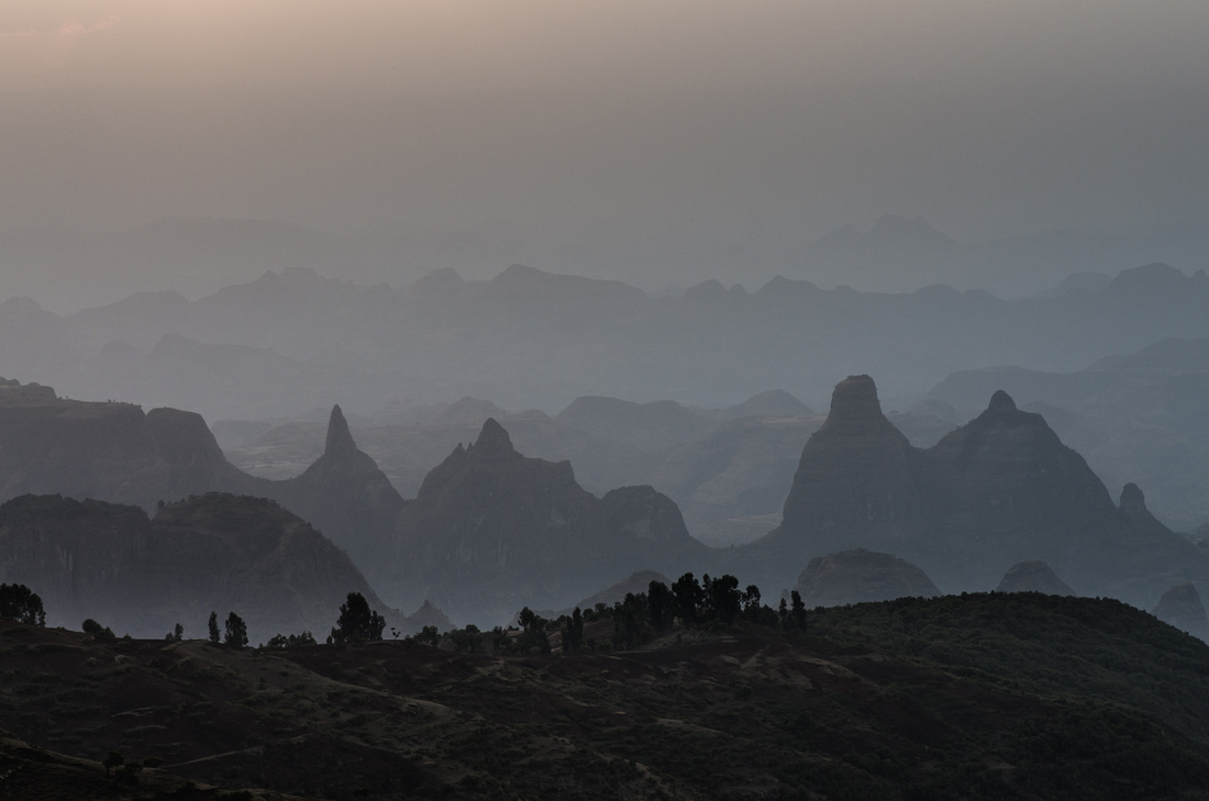 Sunset over the Simien Mountains from Sona Village